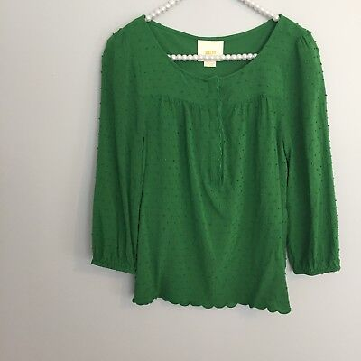 Maeve Anthropologie Womens Size 2 Green Swiss Dot Blouse Scallop Rayon Green Swiss Dot