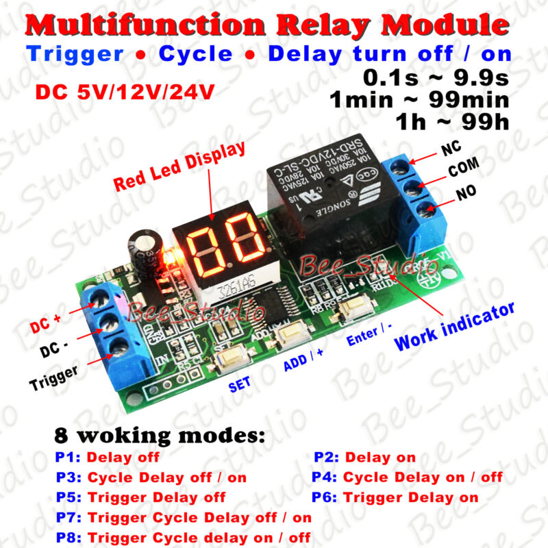 Digital Led Display Infinite Cycle Delay Timer Switch On
