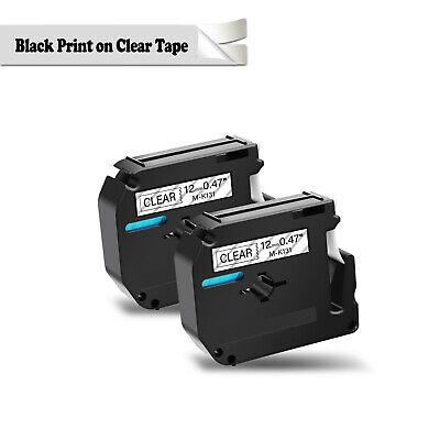 2pk M-k131 Mk131 Black On Clear 0.47 Label Tape For Brother P-touch Pt-70 12mm