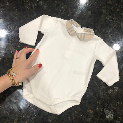 6 Months ( 3m +) Authentic Burberry Baby Girl Boy Bodysuit White Cotton Top Polo
