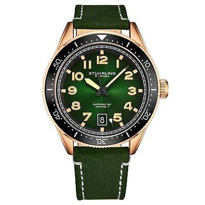 Stuhrling Men's Quartz Green Dial Luminous Hands Markers Green Leather Watch