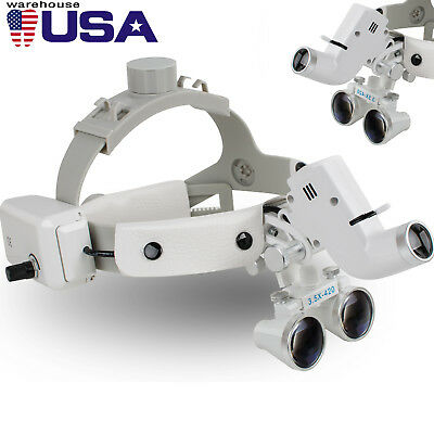 Dental Binocular Loupes Surgical Glass Magnifierled Headlight 3.5x 280-380mm Ce