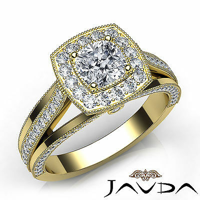 Halo Split Shank Milgrain Pave Cushion Diamond Engagement Ring GIA F VVS2 1.61Ct