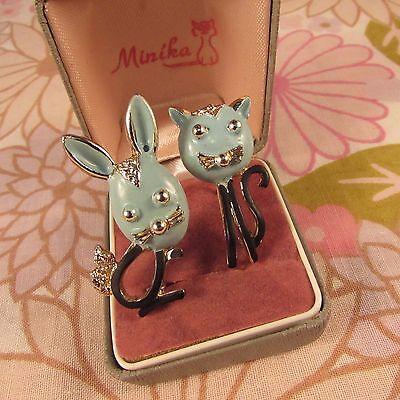 Vintage 1950s Signed Hollywood Metal & Enamel Cat & Rabbit Brooch Pin Duo