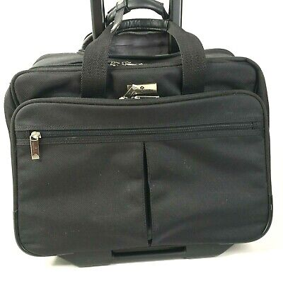 "Samsonite Rolling Briefcase Black 16"" Laptop Case Travel Double Gusset 930025"