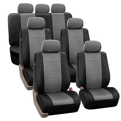 Stock PU Leather GrayBlack 7Seater 3 Row Full Set Seat Covers Split Bench Auto