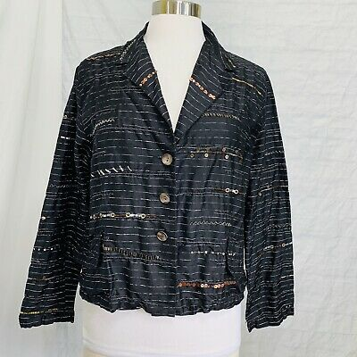 Chico's M 1 Top Jacket Lightweight 100% Silk Embellished Black Beads Sequins #b