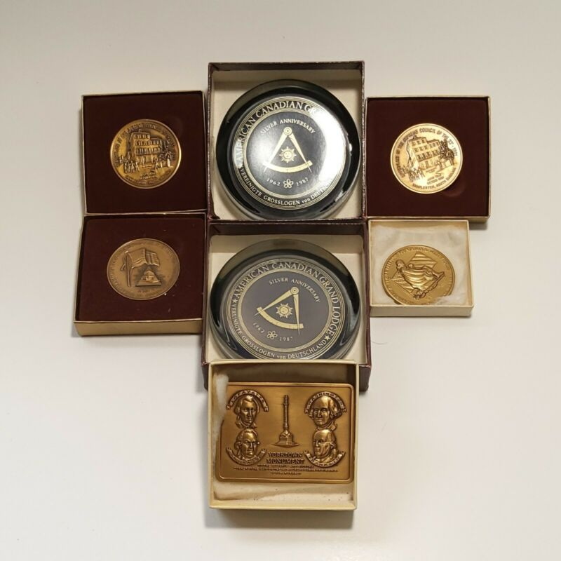Lot 7 Vintage ~ MASONIC ITEMS. COINS & GLASS, HEAVY