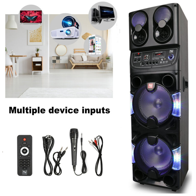 """Dual 10"""" Portable Rechargeable Bluetooth PA Speaker w/Mic & Remote & FM Antenna"""