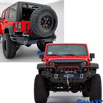"Full Width Front+Rear Bumper+Swing Tire Carrier+2""Hitch for 07-18 Jeep Wrangler"
