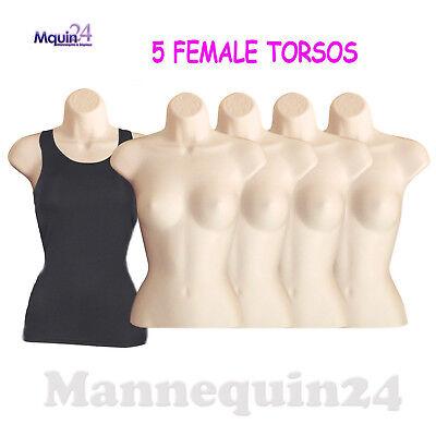 5 Pack Female Torso Body Form Hanging Mannequin Flesh Hollow Back Dress Form
