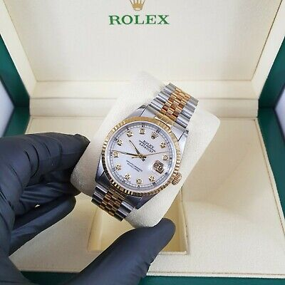 Gents Steel & 18ct Gold Rolex Datejust with White MOP Dial Box & Papers