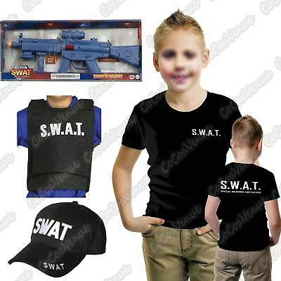 Kids SWAT Police Cop Boys T-Shirt Vest Cap Team Commander Officer Fancy Dress