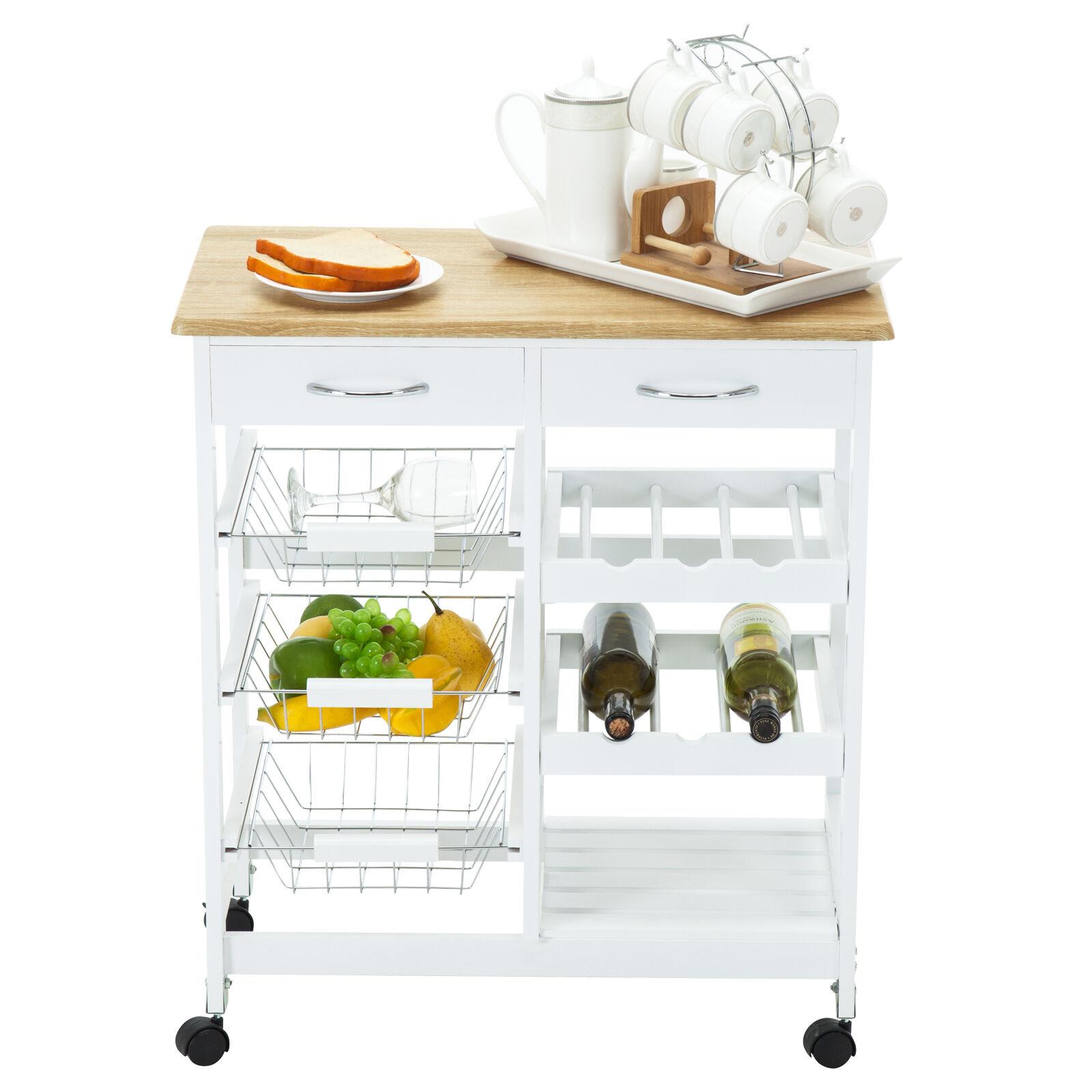 Oak Rolling Kitchen Island Cart Trolley Dining Storage W