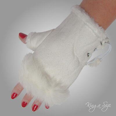 Fingerlose Handschuhe ** Stulpen / Armstulpen Pulswärmer Wildlederlook - weiß