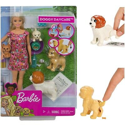 Barbie Doggy Daycare Doll & Pets Blonde Hair Doll W/ 2 Dogs & 2 Puppies