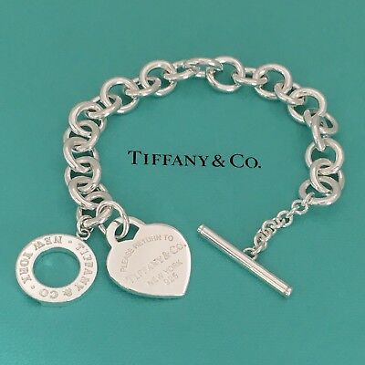 Please Return to Tiffany & Co Silver Heart Tag Toggle Bracelet New Version MINT