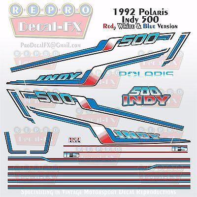 1992 Polaris 500 Indy Red White Blue Repro 20Pc Vinyl Decals Vintage Snowmobile
