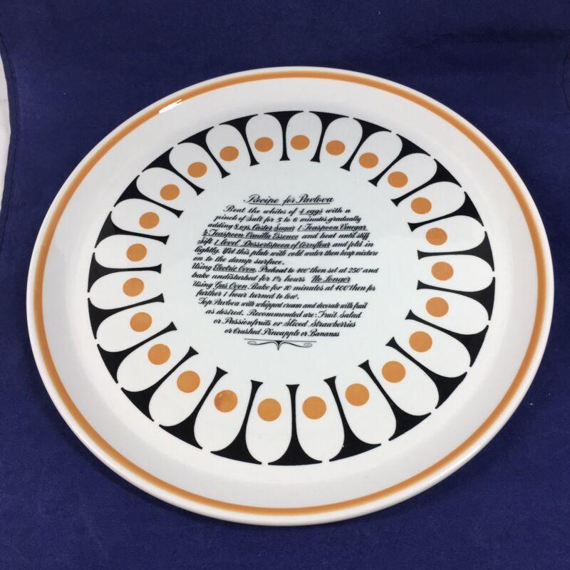 """Vintage MCM Ideal Ironstone Ware Pavlova Recipe 12"""" Plate"""
