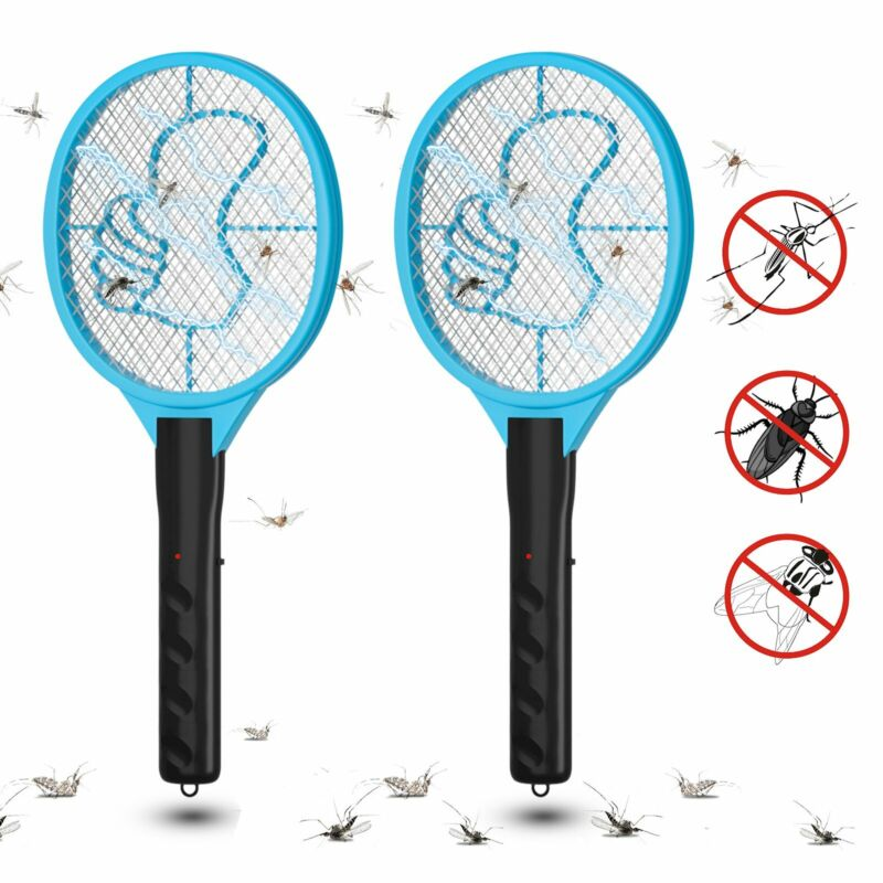 2PCS DC Power Electric Racket Mosquito Swatter Fly Pest Insect Killer Bug Zapper