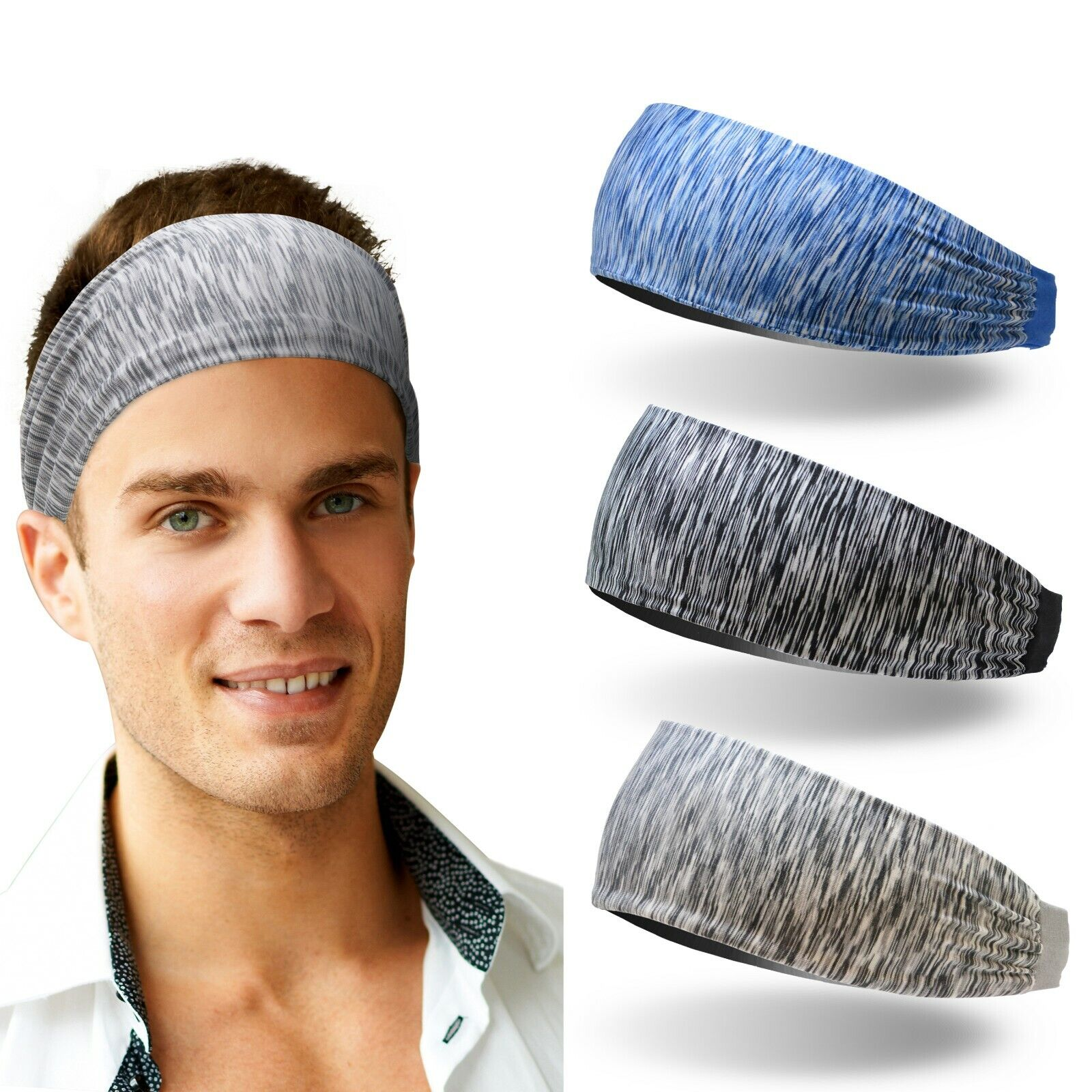 3pcs Men Sport Headband Male Elastic Fitness Sweatband Hairb