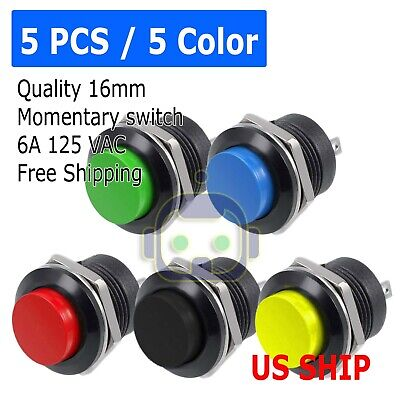 5 Color Pcs Normally Open 16mm Round Momentary 2 Pins Metal Push Button Switch