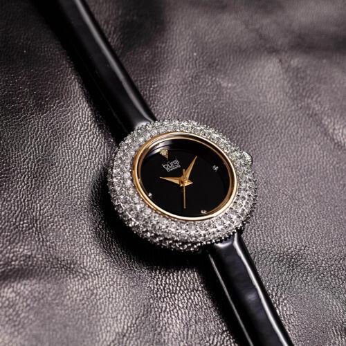 Women's Burgi BUR195BK Swarovski Crystal & Diamond Black Satin Leather Watch