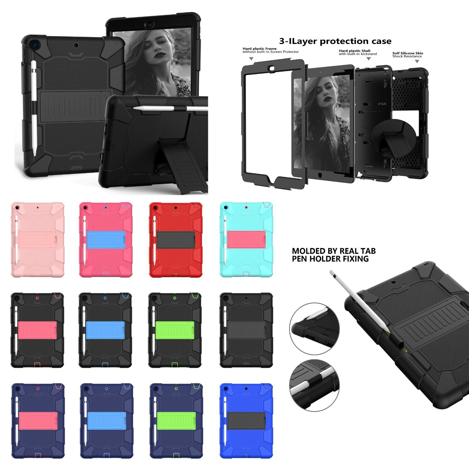"""For iPad 7th Generation 10.2"""" 2019 Case Shockproof Rubber Ar"""