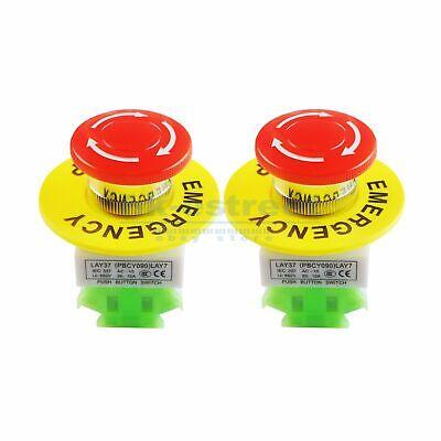 2x Red Mushroom Emergency Stop Shut Off Push Button Switch No Nc 22mm Cnc Gecko