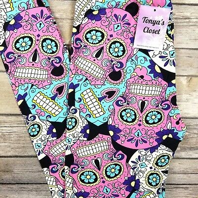 Candy Sugar Skull Leggings Halloween Skeletons Print Buttery Soft ONE SIZE OS