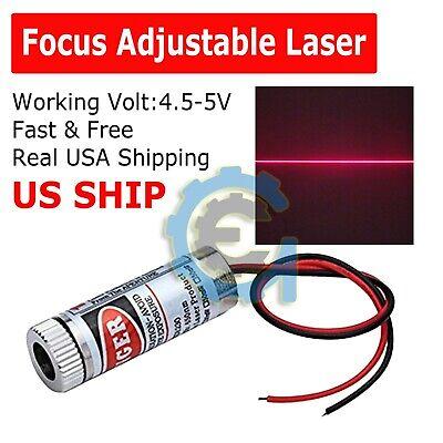 650nm 5mw Red Laser Line Module Focus Adjustable Laser Head 5v Us Shipping M201