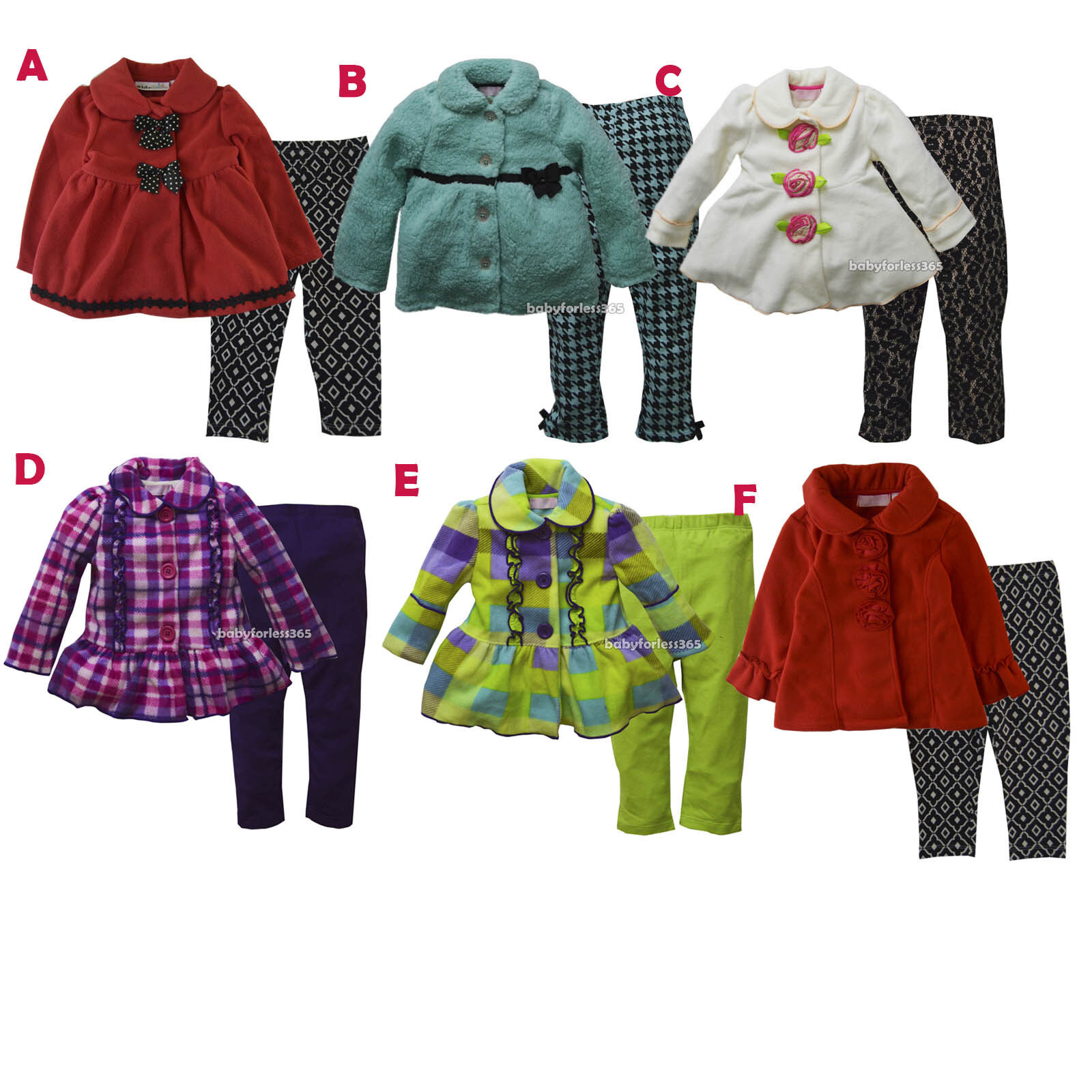 47e47dea32a5b Details about Kid Headquarters Baby Girl Winter Coat Jacket Legging Size 12  18 24 months 3T 4T