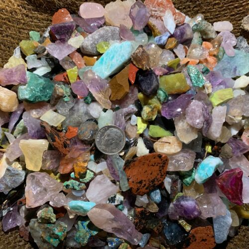 3000 Carat Lots of SMALL Natural Tumble Rough -VERY Nice + FREE Faceted Gemstone