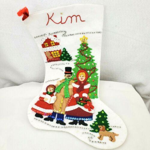 "Completed Bucilla A Dickens Christmas Felt Applique Stocking Caroling Family 18"""