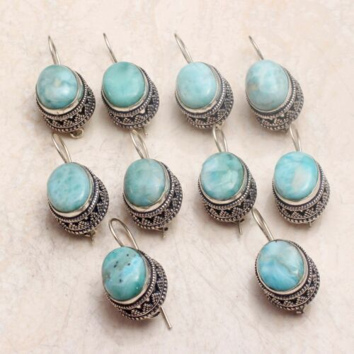 Larimar Gemstone Drop Dangle Handmade 10 pcs Wholesale Lot Jewelry Earrings
