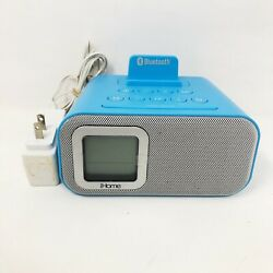 iHome IBT22A Bluetooth Bedside Dual Alarm Clock with Line-In Blue - Tested Work