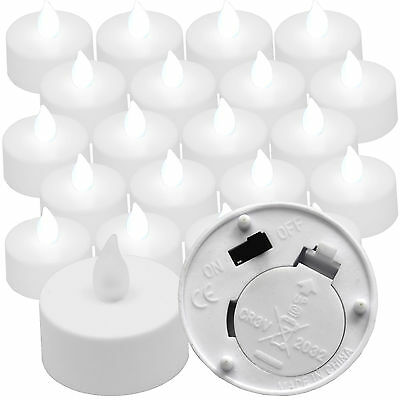20 Qty COOL WHITE Flickering Battery Operated Tea Lights for Luminary Bags - White Bags For Luminaries