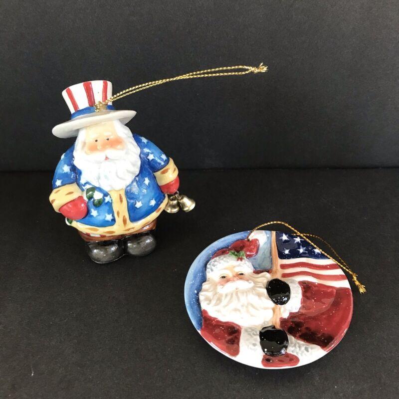 2 Ceramic Patriotic Santa Claus Christmas Ornaments
