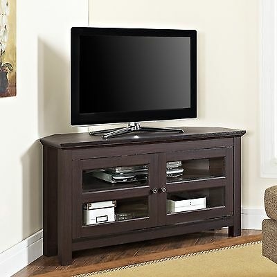 (Corner TV Stand Media Cabinet Storage Console Home Entertainment Center Wood NEW)