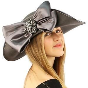 Winter-Edwardian-Flip-Wool-Felt-Big-Bow-Floppy-Wide-Brim-Derby-Church-Hat-Gray