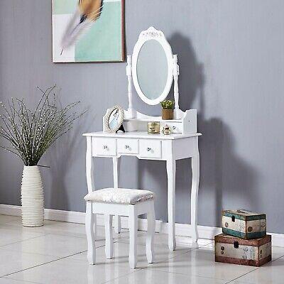 White Dressing Table, Oval Mirror & Stool Set (5 Drawer) Bedroom Makeup Desk
