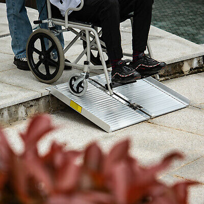 HomCom 2' Folding Portable Mobility Wheelchair Threshold Ram