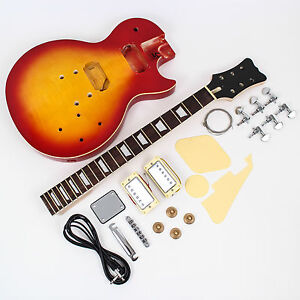 LP Style DIY Electric Guitar Kit - Pre-finished - cherry burst - Flame Maple top