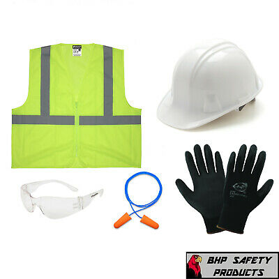 New Hire Safety Kit Includes Hard Hat Vest Gloves Glasses And Earplugs