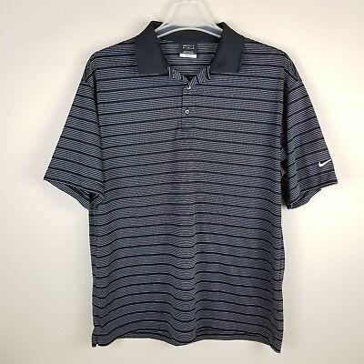 Nike Golf FitDry Mens Tech Core Striped Polo Shirt Black White XL - Nike Tech Core