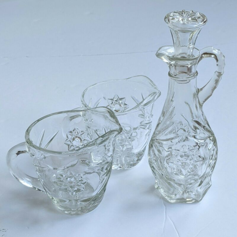 Vintage Starburst Glass Vinegar Cruet And Creamer Pitcher Set