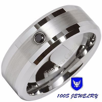 8MM Tungsten Ring Brushed Center Black Diamond Mens Wedding Bands Size 6-14 Half