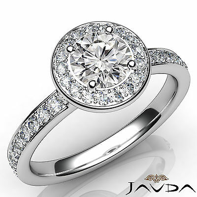Micro Pave Halo Round Shape Diamond Engagement Cathedral Ring GIA F VVS2 1.16Ct