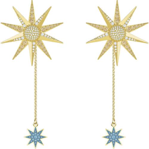 New In Box $149 SWAROVSKI Gold Plated Lucky Goddess Pierced Earrings #5464169