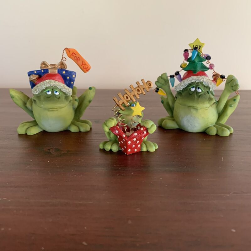 3 Vtg Christmas Frog Figurines By Douglas Harris For RUSS Berrie Gifts